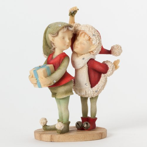 Figurine Mistletoe - Enesco Heart of Christmas Gift Boy and Girl Elf W Mistletoe Figurine, 4.25-Inch