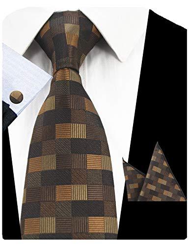 Necktie Handkerchief Set - GUSLESON Fashion Brown Men Tie Set Plaid Necktie with Handkerchief and Cufflinks (0726-12)
