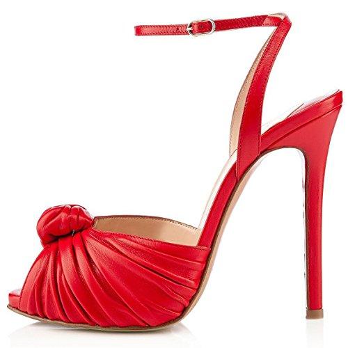 Sandali Con Tacco Alto Da Donna Coolcept Con Fibbia Alla Caviglia E Tacco Alto Con Fiocco Rosso