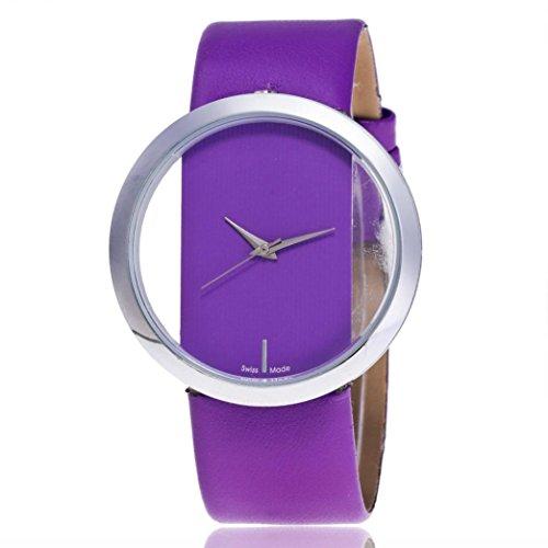 Women watch,YJYdada Fashion Women Beautiful Leather Casual Watch Luxury Analog Quartz Watch (Purple) ()