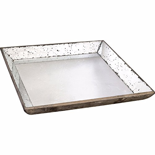 Large Square Tray (Benzara Waverly Mirrored Square Tray, Large)