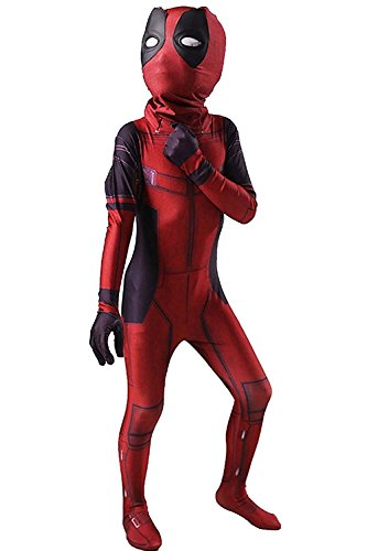 [Toddler Kid's Halloween Costume Deadpool Jumpsuit 3D Printed Full Bodysuit Cosplay Outfit (Small)] (Deadpool New Costumes)