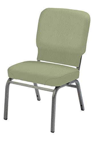 Multi Use Vinyl Seating (KFI Oversized Armless Stack Chair, Sage, Silver Frame, Silver Frame)