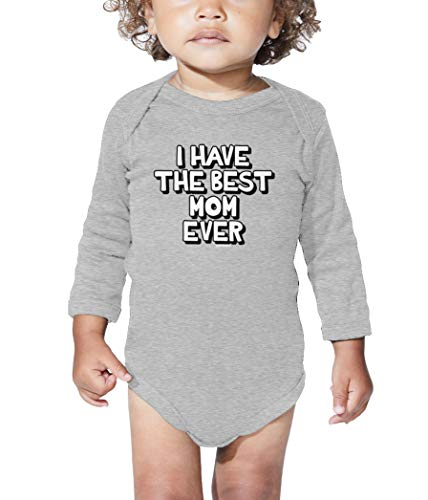 HAASE UNLIMITED I Have The Best Mom Ever - Mommy Long Sleeve Bodysuit (Light Gray, 6 Months)