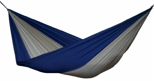 Vivere Parachute Nylon Double Hammock, Beige/Navy (Vivere Steel Stand Double Fabric Hammock With)