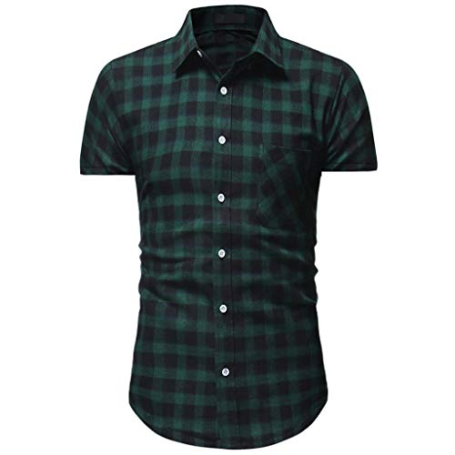(Men Plaid Shirt, JOYFEEL  Summer Casual Slim Fit Blouse Spread Collar Short Sleeve Button Down Fashion T-Shirt Top Green)