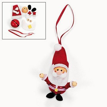 12 Jingle Bell Santa Claus Ornament Craft Kits