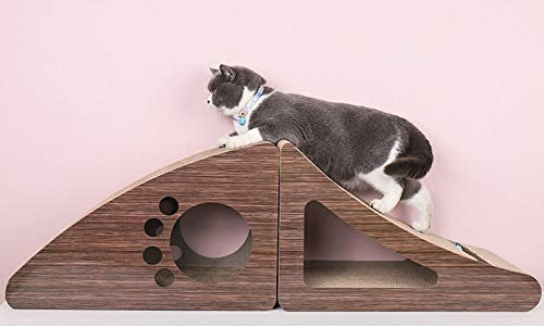 Multiple Scratching Angles to Match Your Cats Preference Durable Kitty Scratching Cardboard IAMUQ Triangle Curved Cat Scratching Post