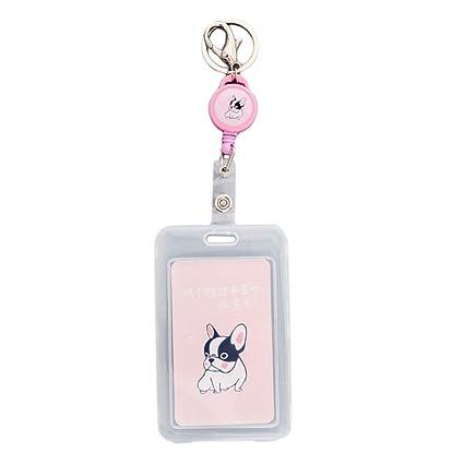 gazechimp Protector Tarjeta Identificativa con Cuerda Retráctil, Botón Funda de Tarjeta Transparente para Oficina o Trabajo - Unicornio - Perro rosa