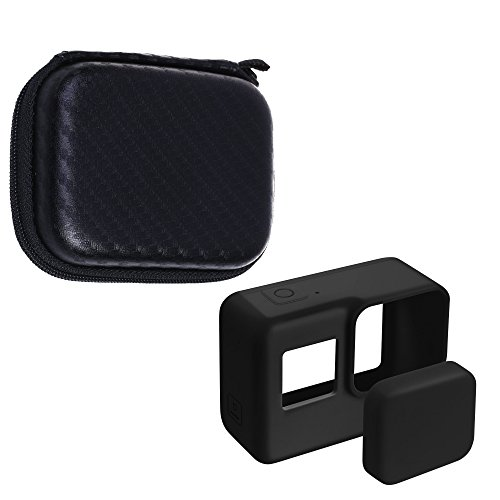 Cosmos Black Color Silicone Protective Cover Case and Lens Cap Protector Cover for Gopro Hero 5/6 Action Camera, with EVA Portable Mini Travel Carrying Case Box