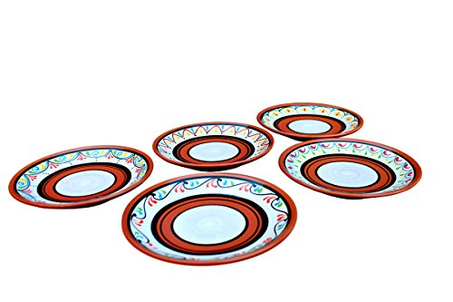 Terracotta White Salad Plates Set of 5 - Hand Painted From Spain by Cactus Canyon Ceramics