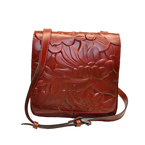 Patricia Nash Granada Floral Deboss Crossbody Iron Red