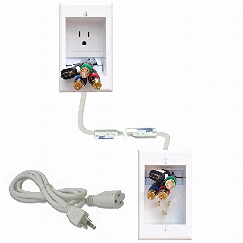 PowerBridge ONE-CK Recessed In-Wall Cable Management System with PowerConnect for Wall-Mounted Flat Screen LED, LCD, and Plasma - Kit Wall Management Cable