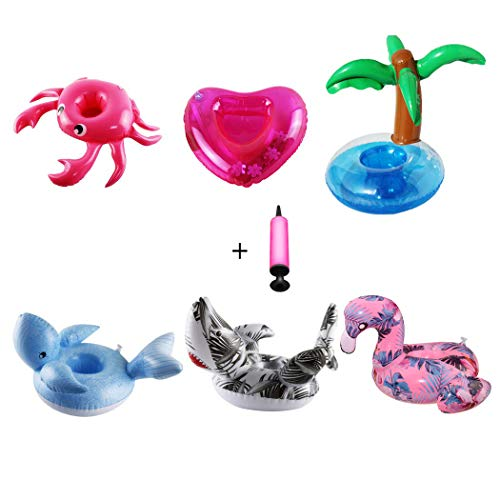 - Aoutacc Float Drink Holders for Pool,Inflatable Beverage Floats Cup Coasters with Mini Air Pump 6 Pack (Crab,Palm trees,Flamingo,Heart,Whale,Shark)