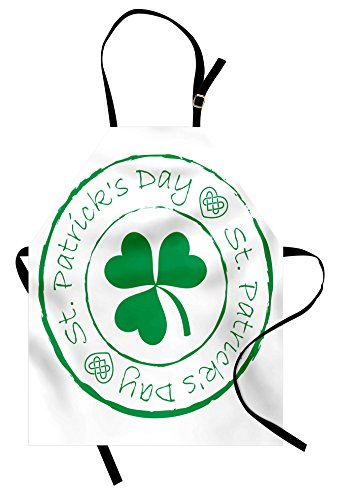 Ambesonne St. Patrick's Day Apron, Stamp Like Design Greetings for Party March 17 Lucky Shamrock Print, Unisex Kitchen Bib Apron with Adjustable Neck for Cooking Baking Gardening, White and Green
