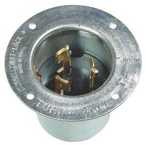 50AMP 250/600V 3P4W Twist-LockKeyed Blade Metallic Flanged Inlet