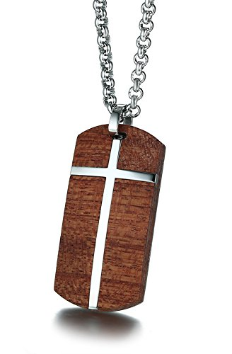 MPRAINBOW Men's Stainless Steel Koa Wood Christ Cross Dog Tag Pendant Necklace,Free Rolo Chain