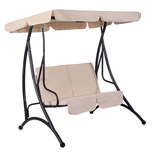 Cushioned Swing - Tangkula 2 Person Canopy Swing Chair Patio Hammock Seat Cushioned Furniture Steel (Beige)