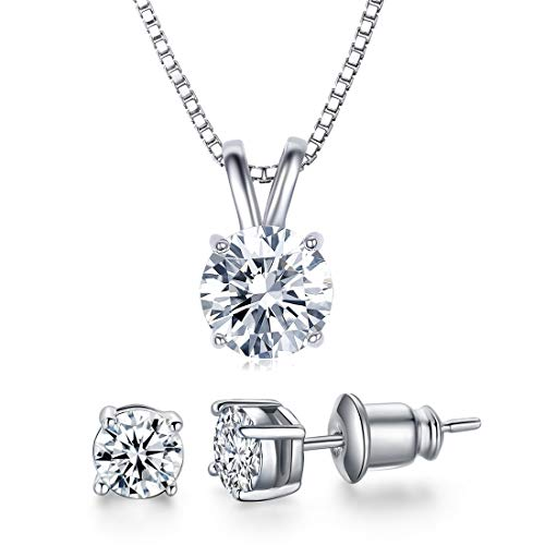 UMODE 18K White Gold Plated Cubic Zirconia Jewelry Set for Women-2 Carat CZ Solitaire Pendant Necklace and 2X0.5 Carat CZ Stud Earrings