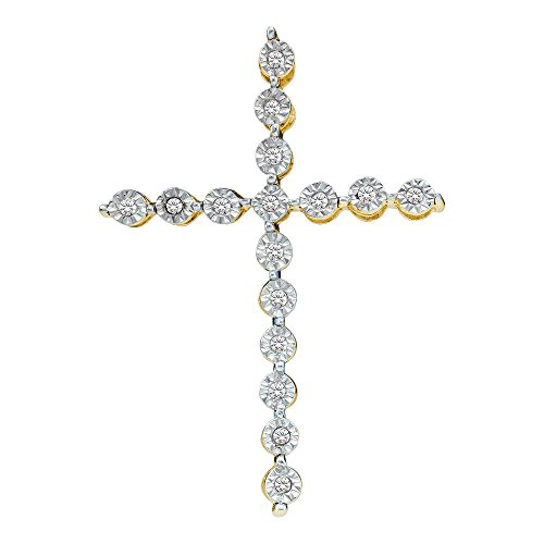 - Sonia Jewels 925 Sterling Silver Yellow Gold-Plated Round White Diamond Prong Set Cross Pendant (1/8 cttw)