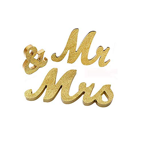 Do4U Modern Vintage Style Mr and Mrs Sign Mr & Mrs Wooden Letters Wedding Sign Mr and Mrs Sign for Wedding Table,Photo Props,Party Table,Top Dinner Christmas Decorations (Gold Glitter) (Mr And Mrs Letters For Top Table)