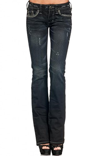 Affliction Women's Jade Stone Cross Flap Journey Boot Cut Denim 25 DrBlue by Affliction