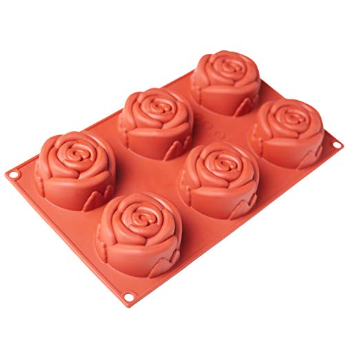 Rose Silicone Molds, Valentine 6 Cavities Flower Silicone Cake Mold Non-stick Round Baking Mold for Soap, Chocolate, Cupcake, Pie ()