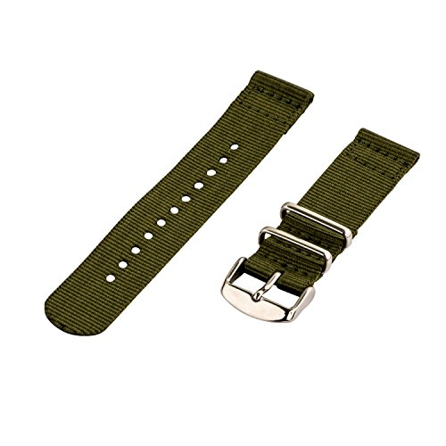 (Clockwork Synergy - 2 Piece Classic NATO SS Nylon Band (16mm, Army Green) )
