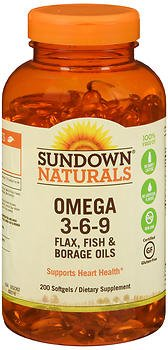 Sundown Naturals Omega 3-6-9 Flax, Fish & Borage Oils Softgels - 200 ct, Pack of 5