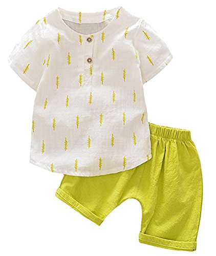 (Summer Kids Boys Casual Soft Linen Short Sleeve Leaf Tops + Harem Pants Set Size 4-5 Years (Yellow))