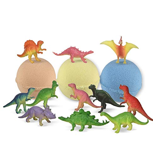 (Bath Bombs For Kids with Surprise Inside DINOSAUR - 3 Organic Large Bath Bomb Kit Dino Inside - Great Fizzy and Bubble Safe For Boys and Girls)