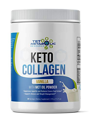 Keto Collagen Protein MCT Oil Powder from Organic Coconut and Hydrolyzed Peptides (Vanilla) 11.2oz. Perfect for Keto Friendly Low Carb Diet Meal Shake Replacement, Keto Creamer