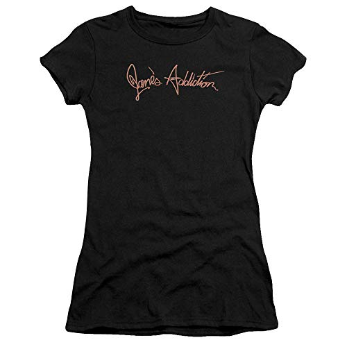 Trevco Janes Addiction Script Logo Juniors' Sheer Fitted T Shirt, X-Large Black