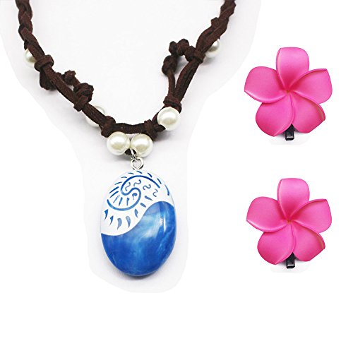 Moana Necklace,Kid's Disney Costume Accessories with Hair Clips,Pearl and Blue Pendants Necklaces,Gifts for Girls and Kids