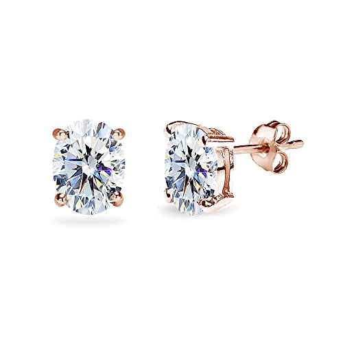 Rose Gold Flashed Sterling Silver 8x6mm Oval Stud Earrings Made with Swarovski Zirconia by GemStar USA