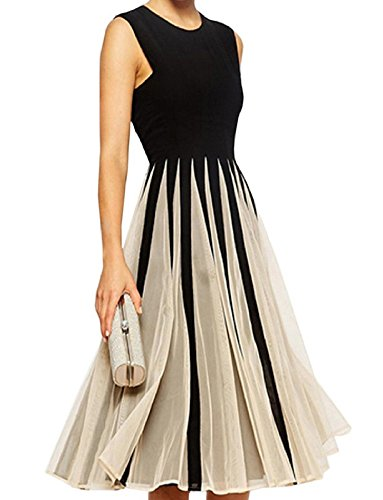 TOP-AK Women's Elegant Gorgeous Cocktailkleid Chiffon Kleid Cutout Color Block Skater Dress Partykleid (XL)