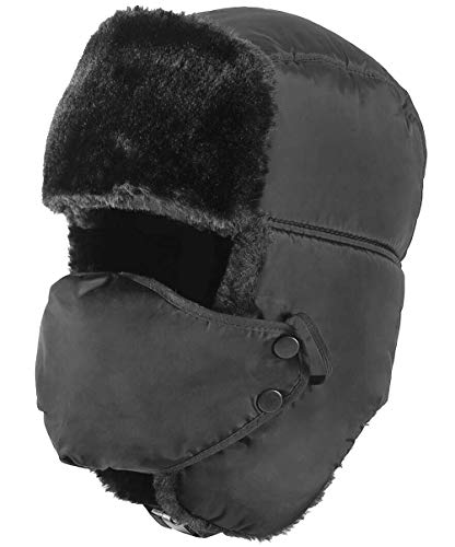 - HELLOYEE Winter Tropper Trapper Hat Ushanka Russian Style Bomber Hat with Ear Flap Chin Strap and Windproof Mask Black