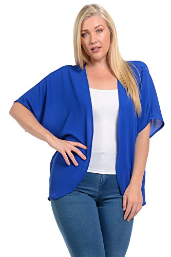 Califul Womens Short Sleeve Kimono Koshibo Crepe Open Front Cardigan Plus Size (1X, CG03 Royal Blue)