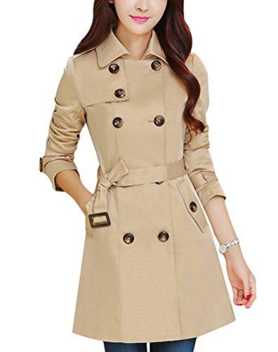 Ghope Manteau Femme Slim Fit Trench Vintage Jacket Coat Manches Longues Veste Lache Kaki