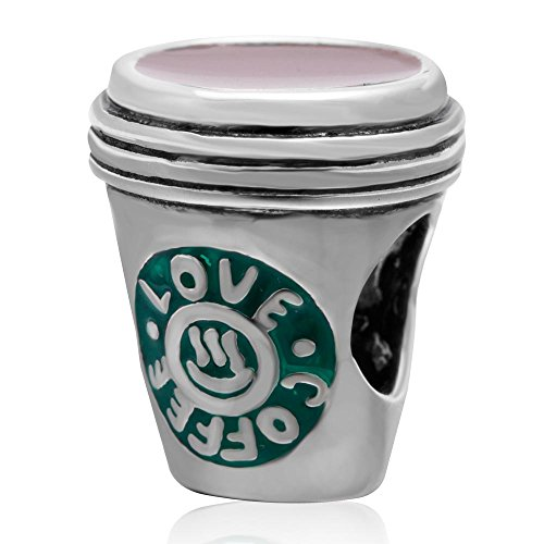 (Love Coffee Cup Charms 925 Sterling Silver Green Mug Cup Charm Charms Bracelets)
