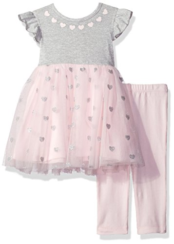 Little Me Baby Toddler Girls' Mesh Play Dress With Capri Set, Light Pink, 2T (Play Leggings Dress)