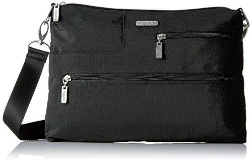Baggallini Tablet Crossbody Messenger Bag - Lightweight, Multi-Pocketed Travel Bag with Tablet Pocket and Removable RFID Wristlet