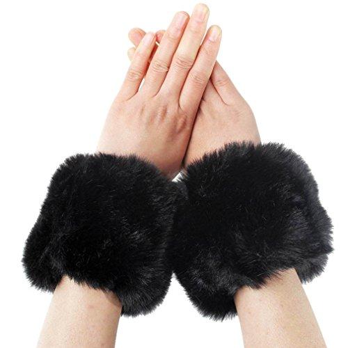 [Simplicity Ladies Winter Faux Fur Wrist Warmer Cuff Wristband, Black] (Warm Weather Costume Ideas)