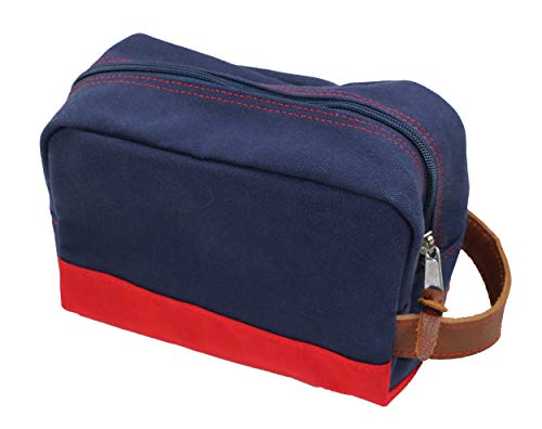 Owen & Fred Leather Trimmed Canvas Zippered Dopp Kit Toiletry Bag (Navy)