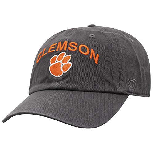 (Top of the World NCAA Men's Hat Relaxed Fit Charcoal Arch Adjustable, Clemson)