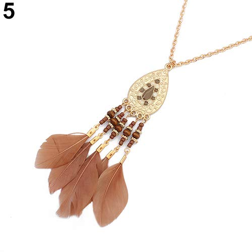 Necklace Opeof Fashion Beads Feather Tassels Charm Pendant Necklace Socialite Lady Jewelry Gift - Antique Bronze ()