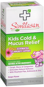 Similasan Kids Cold & Mucus Relief plus Echinacea for Immunity Support Syrup Grape Flavor - 4 oz, Pack of (Immunity Syrup)