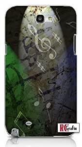 Distressed Music Notes Musical Musician Unique Quality Hard Snap On Case for Samsung Galaxy Note 2 Note II N7100 (WHITE) wangjiang maoyi
