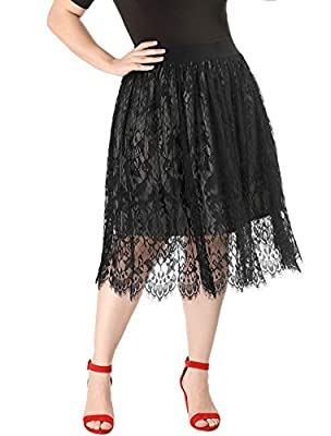 Agnes Orinda Women's Plus Size Fall Flared High Waist A-line Lace Midi Skirt