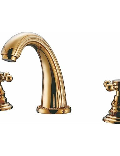Widespread-Bathroom-Sink-Tap-with-Low-Cross-Handles-and-Low-Gooseneck-Spout-Vibrant-Moderne-Polish-Gold
